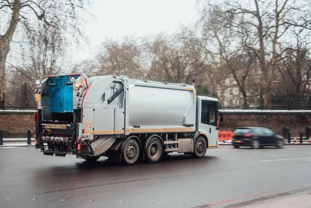 垃圾车,都市风光,有序,垃圾,自动反斗卡车,重的,水平画幅,无人,户外,卡车