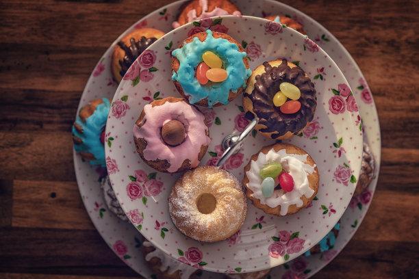复活节,蛋糕,糖衣,小的,腥黑穗病,糖果店,水平画幅,复活节兔子,甜点心,糖