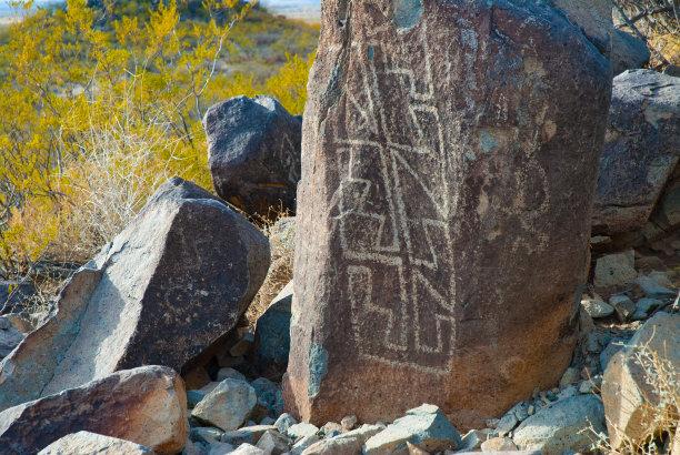 新墨西哥,石洞壁画,国家纪念碑,部落艺术,绘画插图,美国西部,艺术,水平画幅,无人,岩层