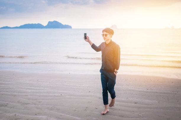 男商人,海滩,笔记本电脑,青少年,旅行者,夏天,男性,自由,青年人,技术