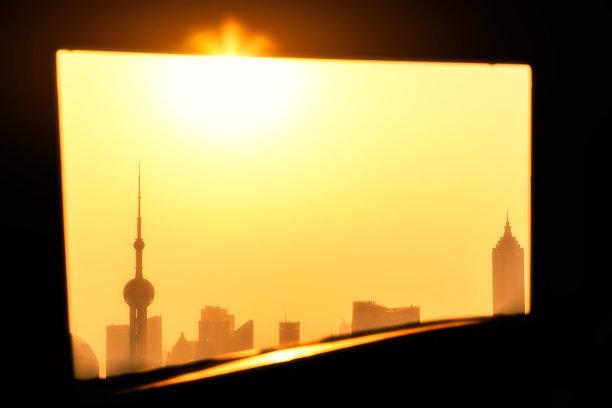 上海,航拍视角,黄浦江,东方明珠塔,金砖四国,外滩,高峰时间,金融和经济,外立面,黄昏