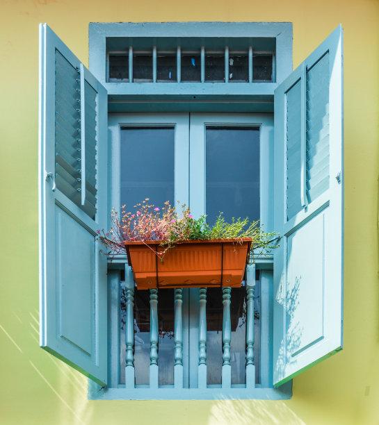 窗户,蓝色,百叶窗,多色的,垂直画幅,外立面,新加坡,建筑,无人,古老的