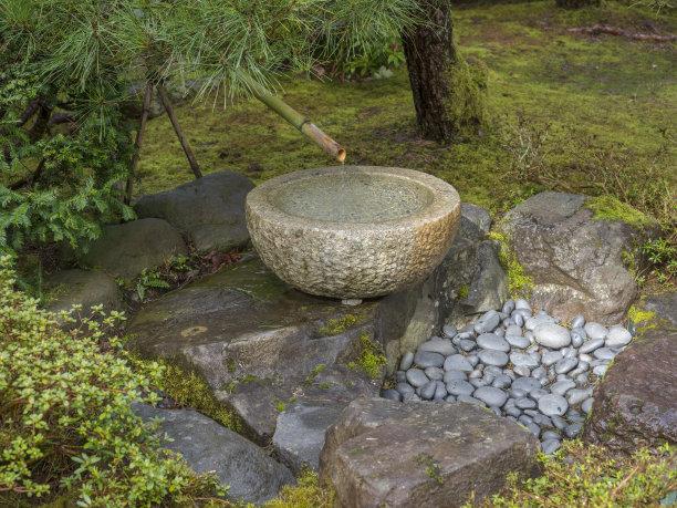 俄勒冈州,喷泉,竹子,星和园,石头,宠物食盘,波特兰,水,俄勒冈郡,公园
