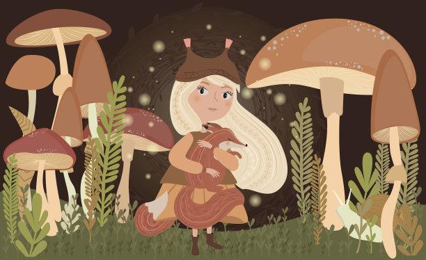绘画插图,矢量,狐狸,女孩,天空,青少年,贺卡,萤火虫,夜晚,性格