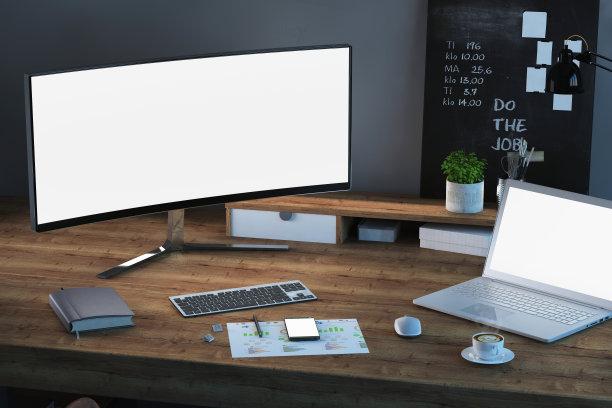 书桌,家庭工作间,显示器,笔记本电脑,留白,夜晚,灯,居住区,现代,模板