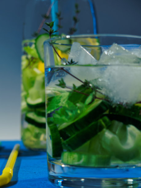 柠檬,芹菜,饮用水,百里香,黄瓜,垂直画幅,无人,维生素,鸡尾酒,夏天