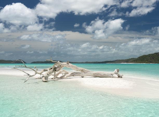 圣灵群岛,澳大利亚,昆士兰州,美,留白,水平画幅,云,沙子,无人,夏天