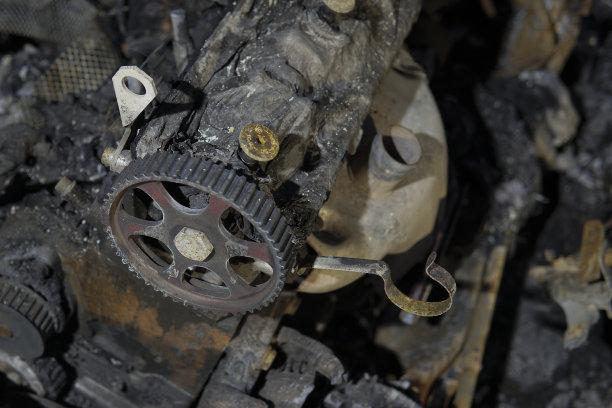 汽车,烧毁的,废旧汽车场,古老的,陆用车,拆毁的,碾碎了的,金属,工业,金属工业