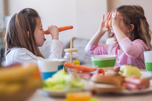 乐趣,早餐,留白,胡萝卜,水平画幅,进行中,家庭生活,西红柿,姐妹