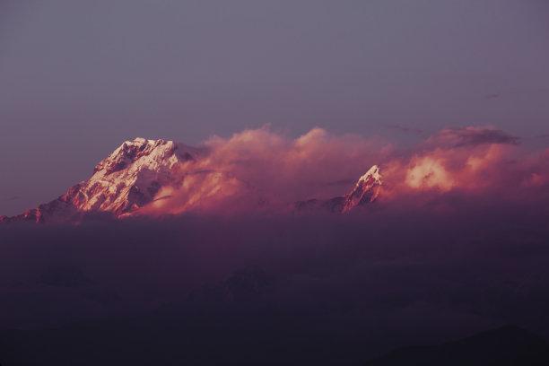 云,山脉,红色,多云,背景,在上面,天空,美,水平画幅,雪