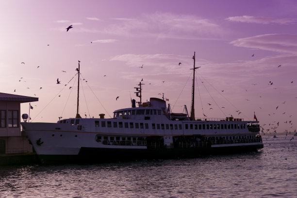 海港,传统,卡迪廓伊,土耳其,伊斯坦布尔,海岸线,客轮,水平画幅,船,黎明