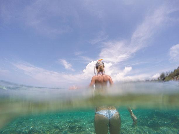 水,水下,青年女人,海洋,人,鸡尾酒,度假,站,注射