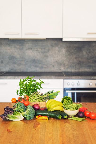 清新,有机食品,灶台,蔬菜,垂直画幅,留白,胡瓜,食品杂货,素食,乡村风格