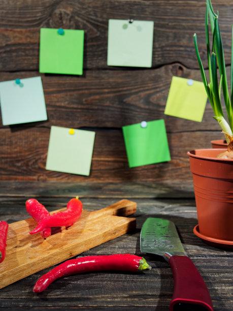 餐桌,垂直画幅,葱,素食,无人,配方,标签,椒类食物,灶台,植物