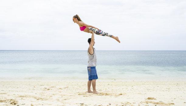 海滩,异性恋,瑜伽,水,美,禅宗,水平画幅,沙子,美人,健康