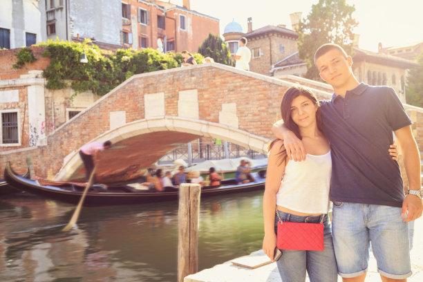 旅行者,青年女人,意大利,生活方式,休闲装,乐趣,威尼斯,青年男人,威尼托大区,拜访