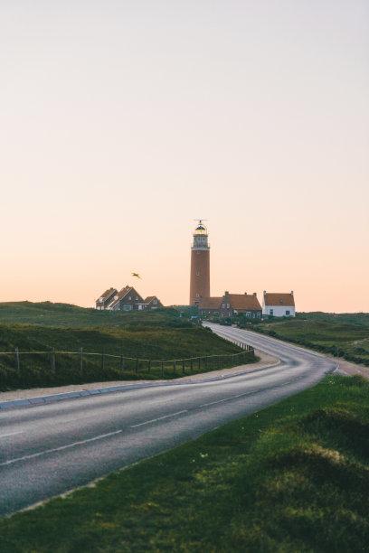 灯塔楼,泰瑟尔岛,岛,垂直画幅,沙子,无人,夏天,户外,德国北海地区,草