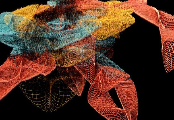 式样,橙色,三维图形,波形,数码图形,抽象,线条,艺术,水平画幅,无人