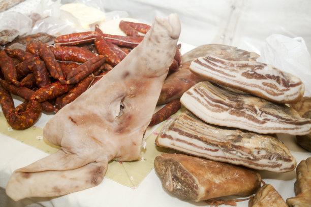 动物头,西班牙香肠,猪肉,股票行情,赛尔,零售展示,横截面,卢戈省,经加工的肉,水平画幅