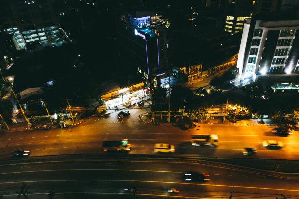 夜晚,曼谷,办公室,水平画幅,无人,半空中,交通,户外,光,泰国