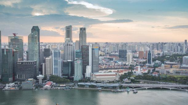 新加坡市,城市天际线,市区,全景,夜晚,市区路,旅行者,滨水,都市风景,新加坡河