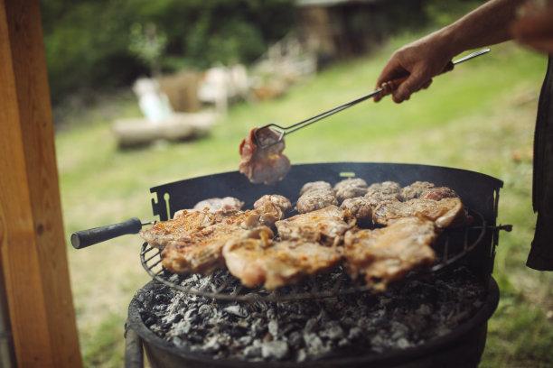 格子烤肉,烤肉架,肉,美味,夏天,周末活动,晚餐,热,烤肉串,火焰