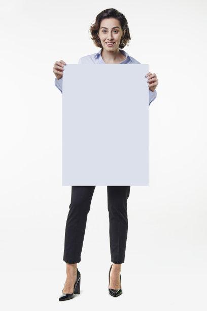 布告,青年女人,拿着,垂直画幅,正面视角,留白,半身像,仅成年人,青年人,白色