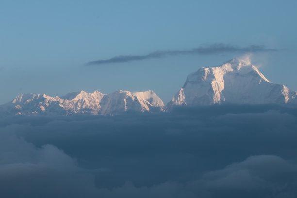 看风景,天空,灵性,雪,早晨,气候与心情,山脊,白色,高处,安纳普纳生态保护区