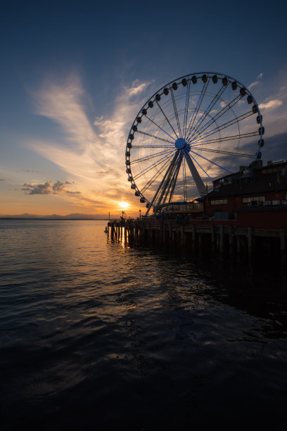 西雅图,垂直画幅,水,美,无人,夏天,滨水,西雅图大轮,依利雅特湾,美国西北太平洋地区