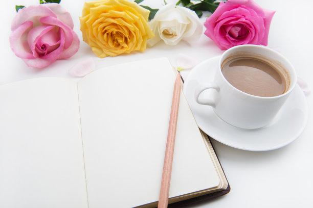 笔记本,玫瑰,背景,贺卡,留白,情人节,花束,瓷器,书,清新