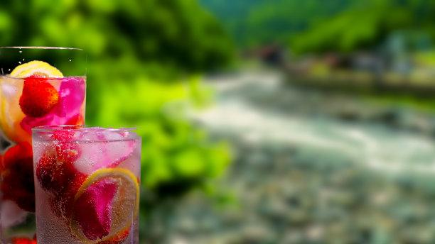 饮料,水果,背景,河流,山,水,水平画幅,无人,鸡尾酒,夏天