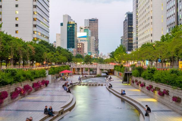 韩国,首尔,小溪,办公室,水,水平画幅,夜晚,无人,运河,夏天