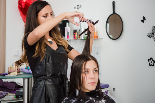发型屋,梳子,业主,顾客,制服,化妆用品,仅成年人,吹干头发,头发,青年人