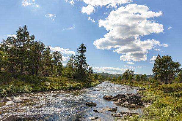 夏天,山,河流,地形,自然美,水平画幅,云,雪,瀑布,无人