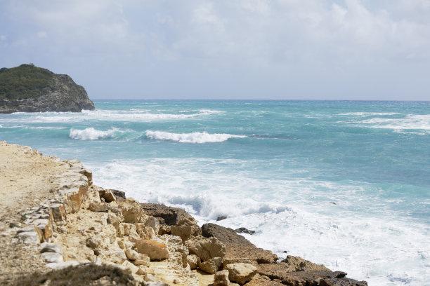 波浪,岩石海岸线,安提瓜,水,留白,风,暴风雨,夏天,安提瓜和巴布达,戏剧性的景观