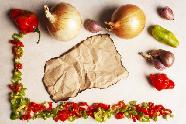 辣椒,洋葱,大蒜,边框,水平画幅,素食,胡椒,生食,椒类食物