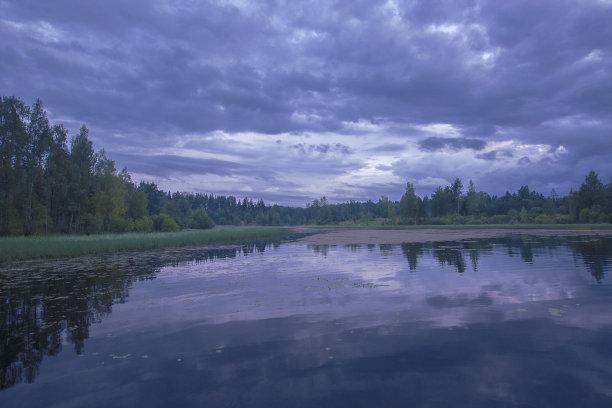 湖,紫色,在上面,水,天空,美,卡累利阿共和国,水平画幅,云,无人