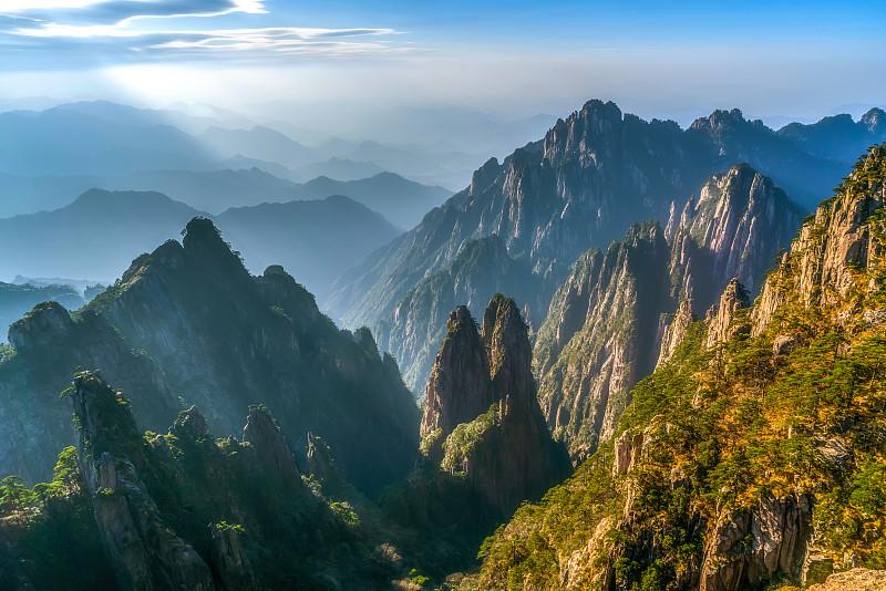 云,中国,雾,远距离,山,黄山,天空,水平画幅,无人,传统
