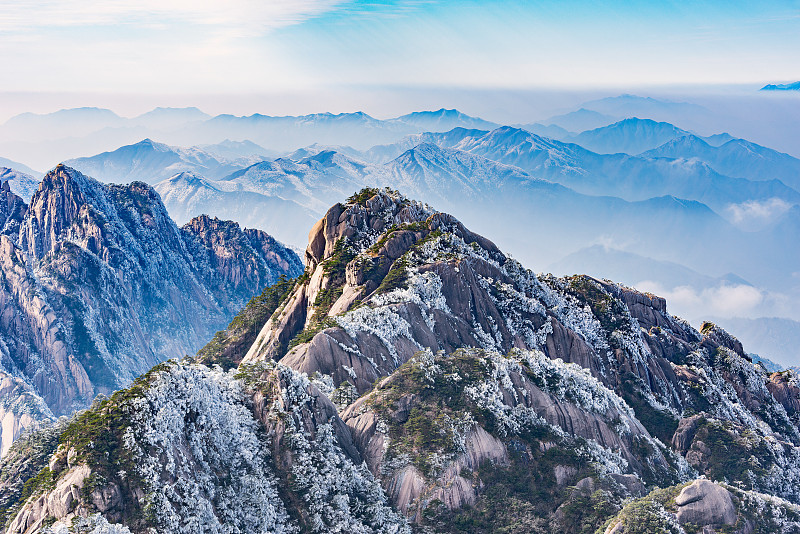 黄山山脉,公园,沟壑,水平画幅,云,雪,无人,早晨,东亚,户外
