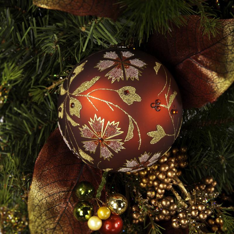 杉树,绿色,球,夜晚,无人,新年,圣诞树,组物体,明亮