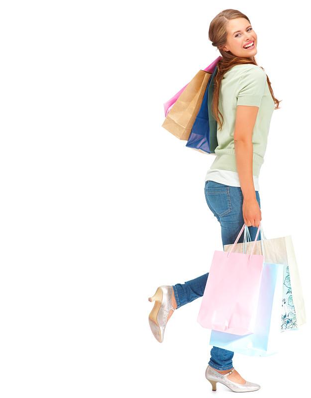 快乐,购物袋,白色,青年女人,垂直画幅,美,女人,时尚,人,拿着