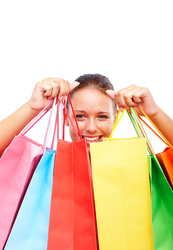 快乐,购物袋,多色的,青年女人,白色,垂直画幅,美,女人,可爱的,人