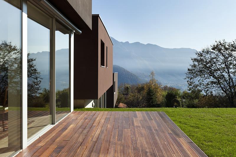 现代,园林,房屋,自然美,天空,美,新的,水平画幅,墙,别墅