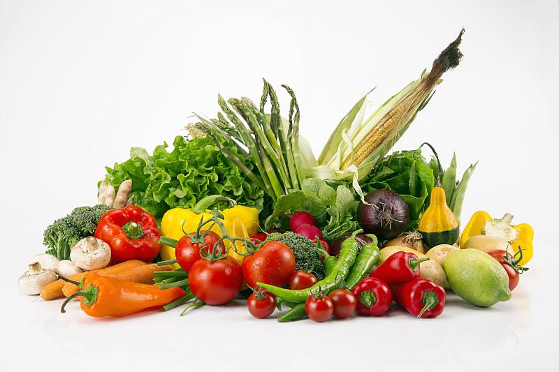 蔬菜,色彩鲜艳,分离着色,胡瓜,灯笼椒,素食,椒类食物,西红柿,食用菌,彩色图片