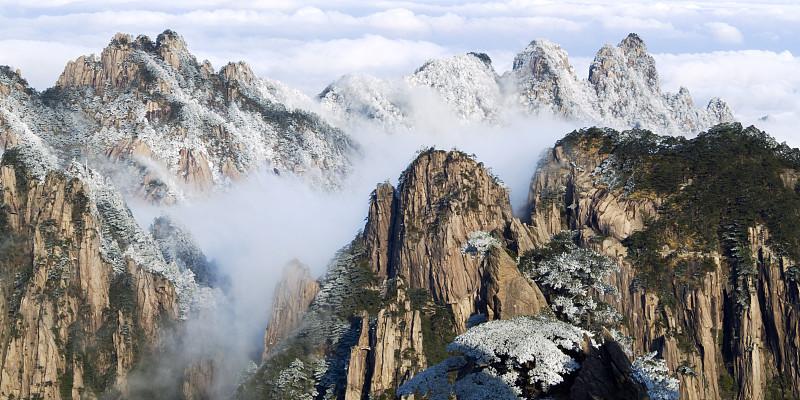 云,雾,黄山,黄山山脉,安徽省,自然,悬崖,水平画幅,地形,雪