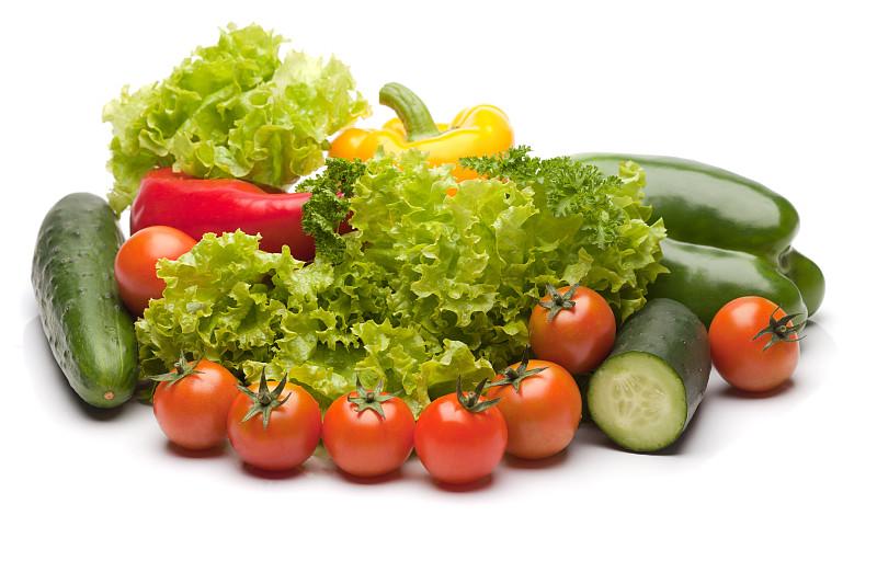 白色,蔬菜,多样,分离着色,秋季沙拉,番茄沙拉,散叶莴苣,水平画幅,灯笼椒,素食