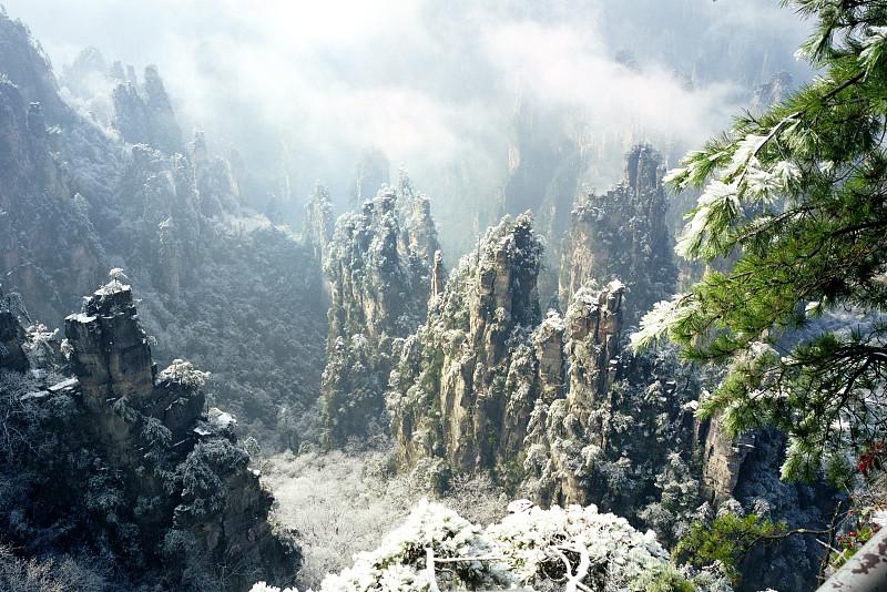 冬天,中国,张家界,湖南省,自然立柱,水平画幅,雪,无人,当地著名景点,户外