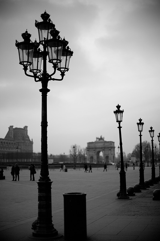 路灯,巴黎,垂直画幅,无人,欧洲,黑白图片,灯,法国,摄影