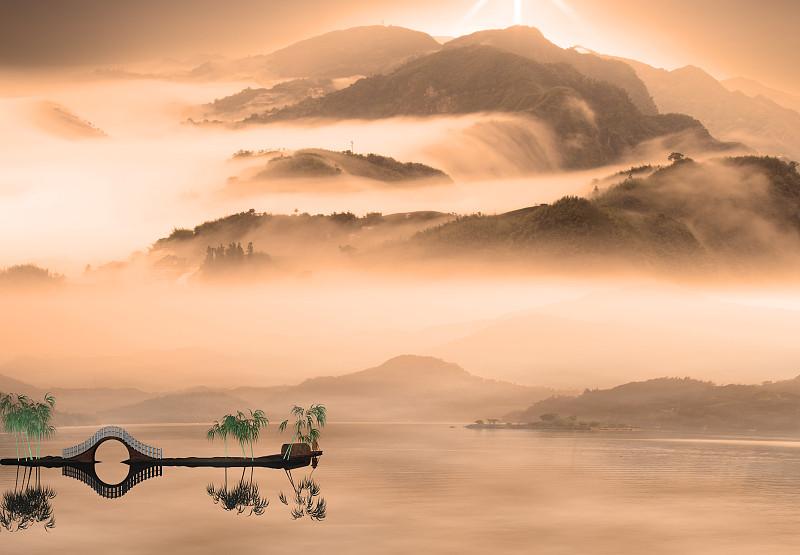 地形,中国,绘画风格,风景,绘画艺术品,日本,墨水,水,里山,樱桃