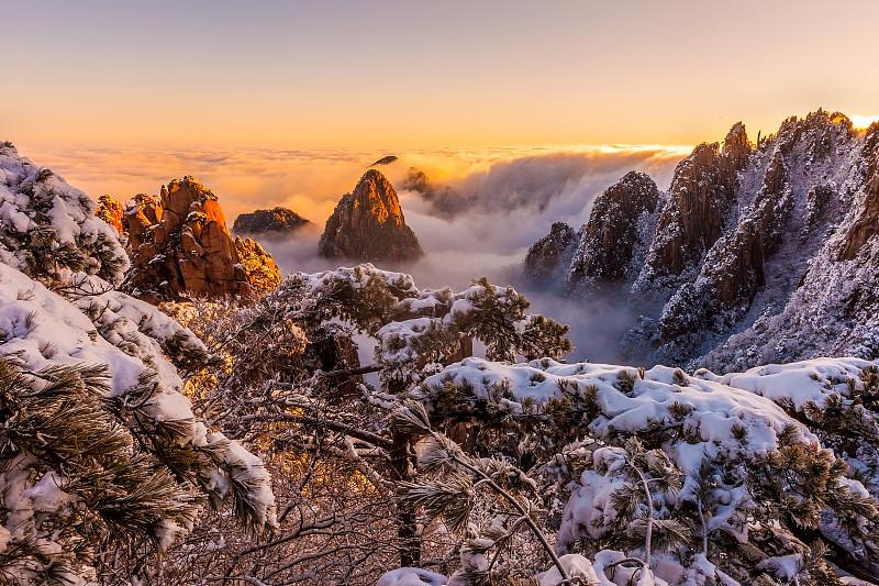 黄山山脉,山,安徽省,亚洲,自然,世界遗产,图像,自然美,无人,中国